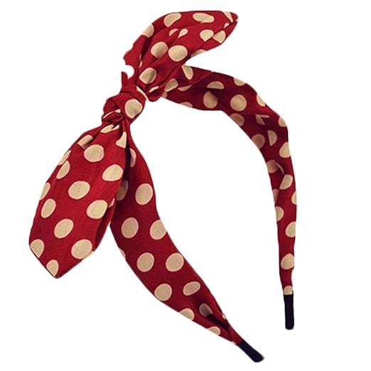 Amazon.com  Qunson Women s Polka Dot Bow Headband Hairband Red  Clothing 2a53b6f4e11