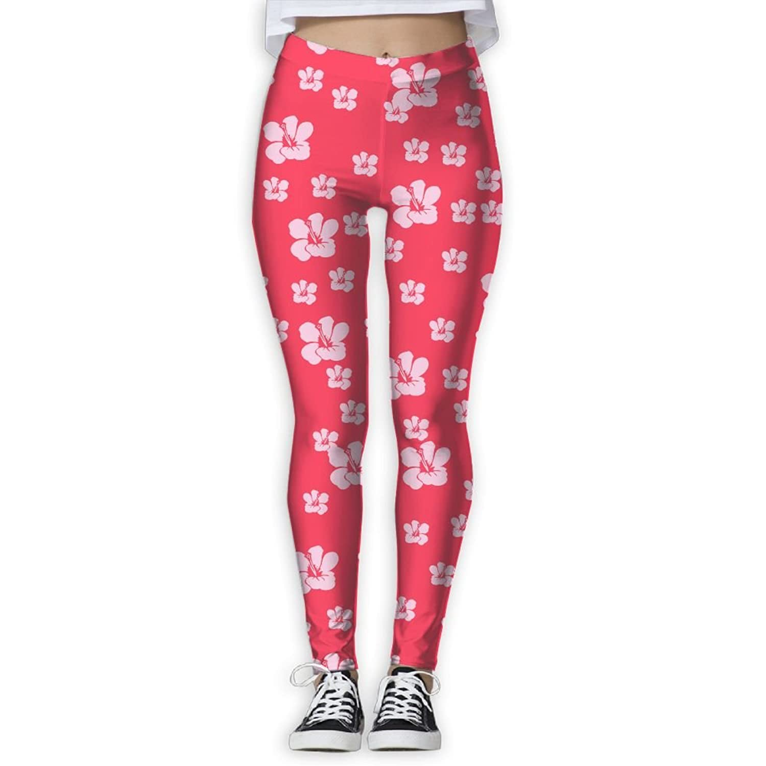 Red Hawaiian Flowers Printed Yoga Athletic Pants Best Choice For