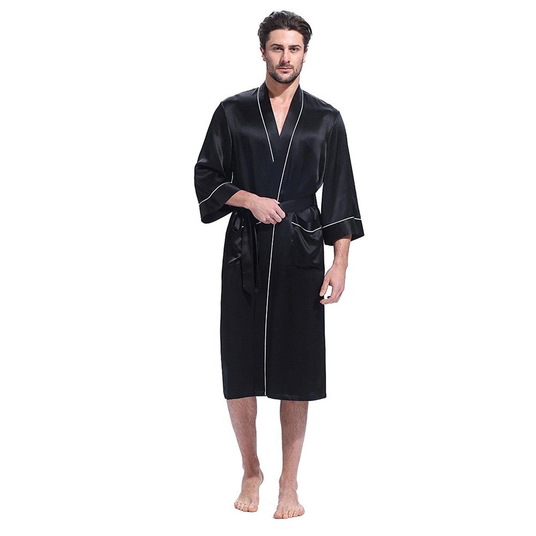 LilySilk Men Silk Robe Long Kimono Style Half Sleeve Loose Pure Natural Mulberry  Silk Luxury Piping Loungewear at Amazon Men s Clothing store  85061c37f