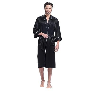 ee27e04405d09 LilySilk Men Silk Robe Long Kimono Style Half Sleeve Loose Pure Natural  Mulberry Silk Luxury Piping