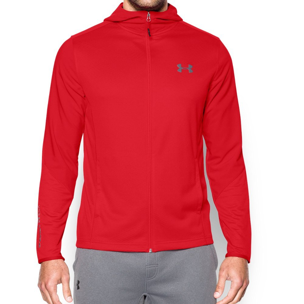 Under Armour Men's ColdGear Infrared Grid Hoodie, Red (600)/Graphite, X-Large