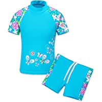 TFJH E Girls Long Sleeve Swimsuit with Zipper Kids Two Piece Rash Guard Suit UPF 50+ UV 3-12 Years