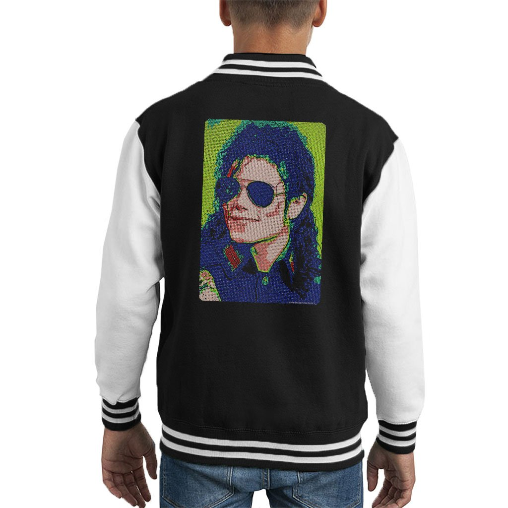 POD66 Michael Jackson Sunglasses Neon Pixelated Effect Kid's Varsity Jacket