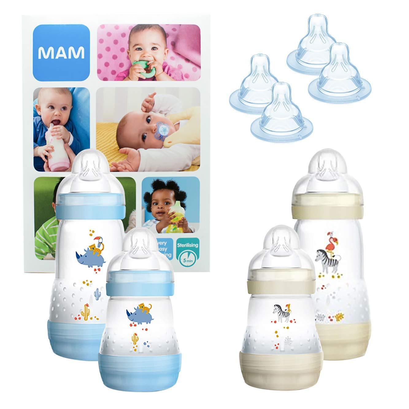 2 cuerpos de biber/ón con 2 biberones antic/ólicos Easy Start Boy MAM Essential Bottle Set 2x T3 + 2x TX 320 ml regalos para beb/és de +2 meses NI/ÑO y 4 tetinas 260 ml