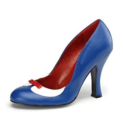 Amazon.com | Womens Two Tone Shoes Red White Blue Pumps Peter Pan ...