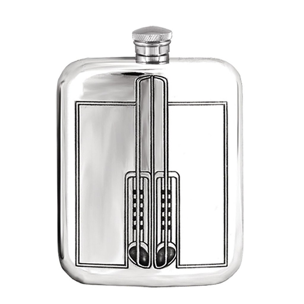 Prince of Scots English Pewter Flask with Charles Rennie Mackintosh Art Nouveau Design Flask