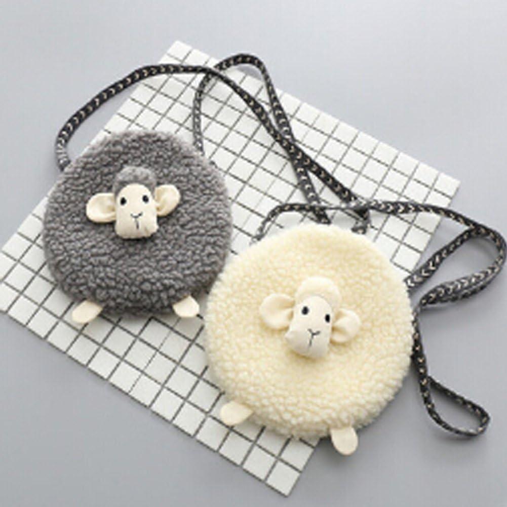 Little Girls Plush Purse Cute Sheep Cartoon Mini Crossbody Bag Kids Toddler Children Fashion Cellphone Coin Purse Card Wallet Toy Satchel Shoulder Bag Grey