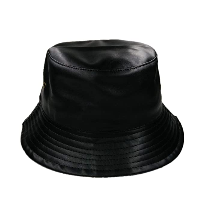 0b4c17485f0 Chad Hope Faux Leather Bucket Hats Unisex Casual Flat caps for Men Women  Black