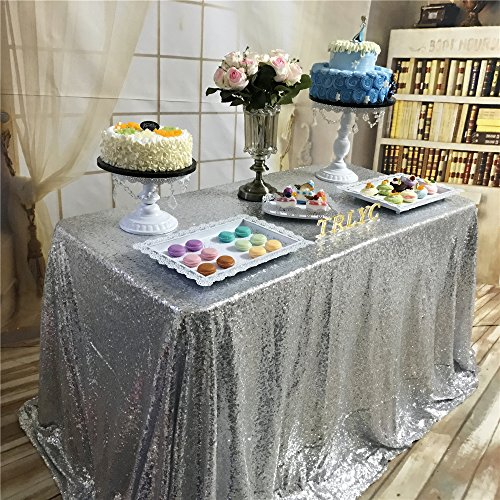 TRLYC 60 x 120-Inch Rectangular Sequin Tablecloth