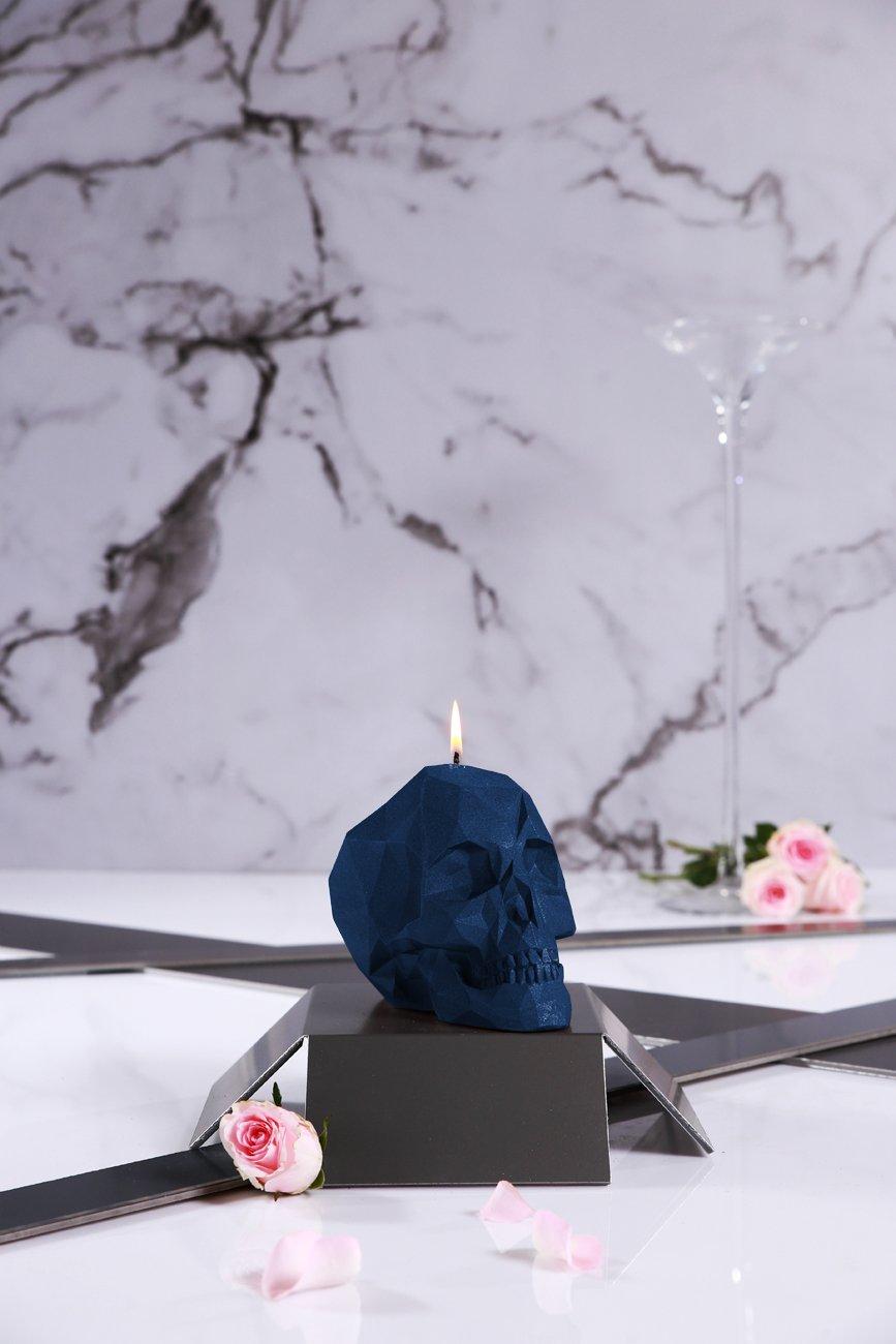 Candellana Candles Candellana- Skull Poly Candle-Dark Blue,