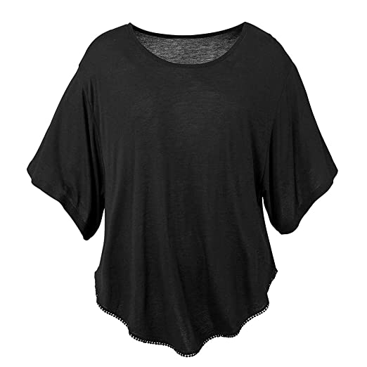 acd96fd1b132 Womens Tops Summer Short Batwing Dolman Sleeve O-Neck Solid Loose Fit Half  Sleeve Tee Shirt Blouse at Amazon Women's Clothing store: