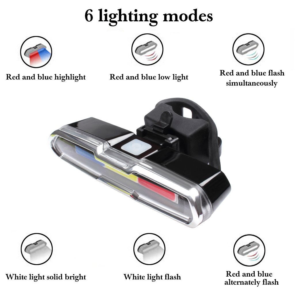 EFORCAR Bike Tail Light,USB Rechargeable LED Bicycle Rear Light with 3 Colors Light and 6 Lighting Modes Multipurpose Ultra Bright Waterproof Bike Warning Light for Riding by EFORCAR (Image #3)