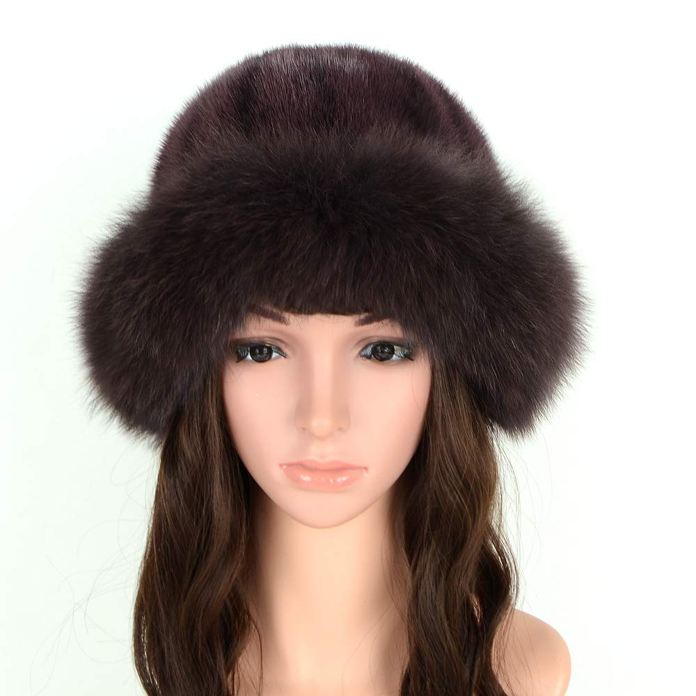 MH Bailment Womens Winter Hat with Fox Brim Real Fur Hats (M, Brown)