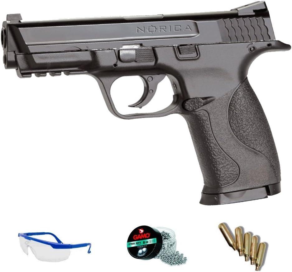 PACK pistola de aire comprimido Norica NAC 1703 - Arma de CO2 y balines BBs (perdigones de acero) <3,5J
