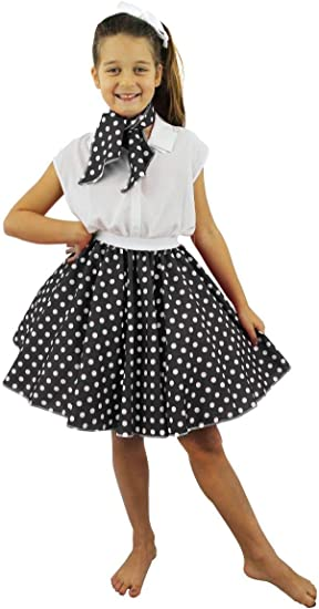 I LOVE FANCY DRESS LTD Falda Corta Negra con Puntos Blancos ...