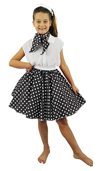 I LOVE FANCY DRESS LTD Falda Corta Negra con Puntos Blancos ...