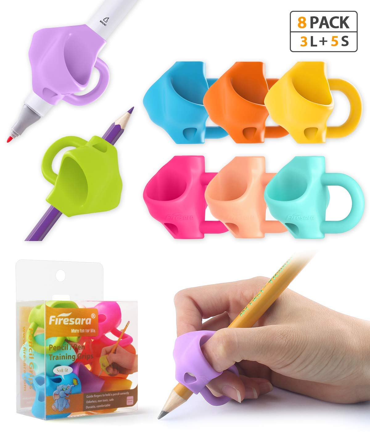 Pencil Grips,Firesara Three Fingers Fixed Handwriting Posture Correction Grip Trainer,Two Sizes and 8pcs Pencil Grips for Kids, Adults, Arthritis Designed for Righties or Lefties(5Standard+3Large) by Firesara