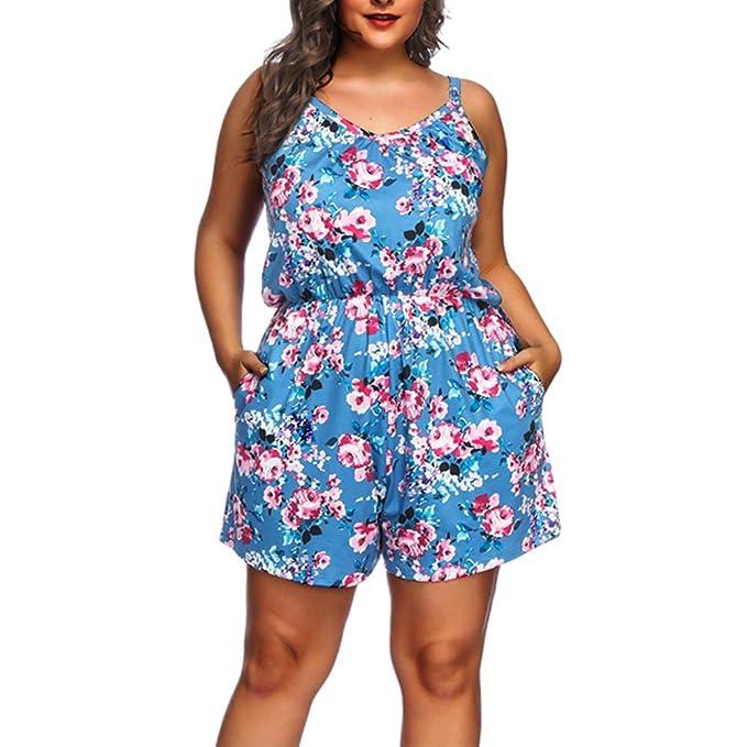 Lover-Beauty Mujer Mono Corto Verano Sexy Floral Print Talla Grande Tirante  Escote-V Casual Jumpsuit Sin Manga Suelto Pantalones Pierna Ancha   Amazon.es  ... 88e6b18cb2ad