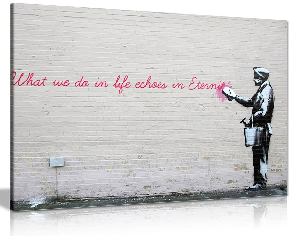 Banksy What We Do In Life Echoes In Eternity Graffiti Canvas Wall Art Picture Print (36X24) Panther Print