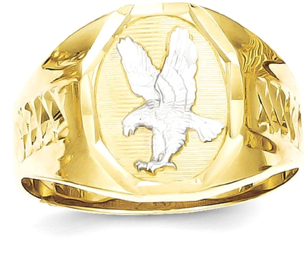 ICE CARATS 10k Yellow Gold Mens Eagle Band Ring Size 10.00 Man Fine Jewelry Dad Mens Gift Set