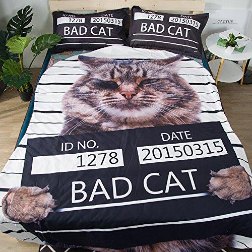 Koongso 3D Cartoon Animal Print Blanket Bedding Irregular Shaped Summer Quilt Bad Cat Comforter Washable Light Quilt
