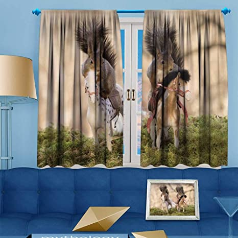 Amazon PRUNUS Blackout Curtain Red Squirrels Standing On A