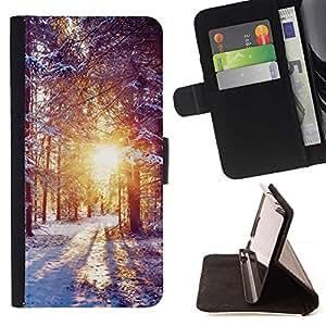 Momo Phone Case / Flip Funda de Cuero Case Cover - Invierno Amanecer - LG OPTIMUS L90