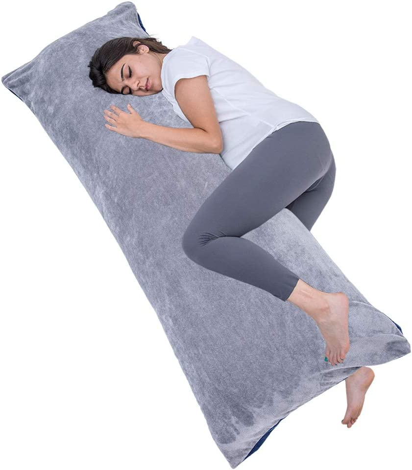 1 MIDDLE ONE Full Size Body Pillow, Large Bed Sleeping Pillow for Adults and Side Sleeper, Long Pillow Insert with Velvet Cover, 20x54 Inches (Blue Grey)