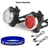 Wiederaufladbare LED Fahrradlampe, LED Frontlicht und Rücklicht Für Radfahren,2 USB-Kabel, 4 Licht-Modi,Wasserdicht IPX4