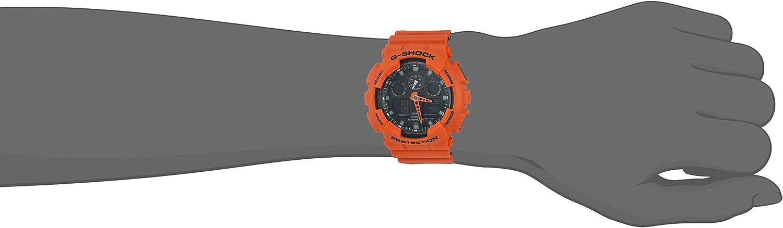 Casio Men's G Shock GA100L 4A Orange Silicone Quartz Sport aRHol