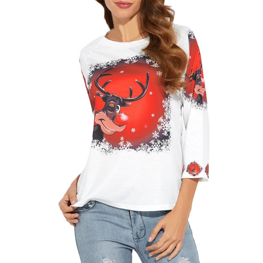 Sweatshirt de Noël,LMMVP Femme Noël Manche Longue Elk Imprimé Chemise Décontractée Chemisier Dessus Lâches T-shirt (L, blanc)
