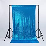Zdada Turquoise 6.5ftx8ft Sequin Birthday Photo Booth Backdrop Sparkly Curtain for Home Decoration
