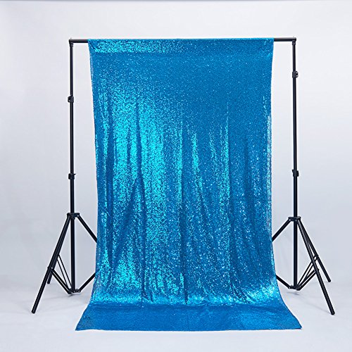 Zdada Sequin Satin Backdrops,Turquoise 6ftx8ft Wedding Backdrops, Christmas Decoration, Sequin Curtains, Drape, Sequin Panels, Fuchsia Home Decor