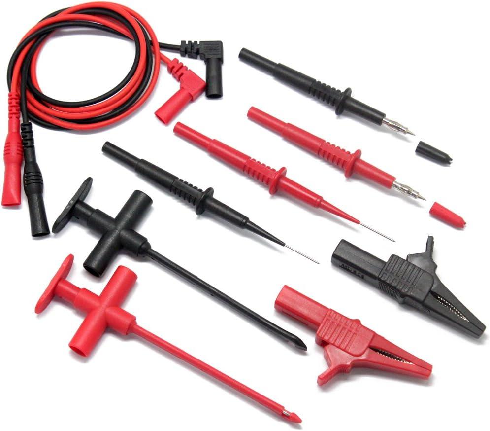 Aidetek Kit de puntas con punta de aguja y cables para multímetro Fluke TL809Extech