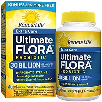 Ultimate Flora Extra Care Probiotic Supplement Vegetable Capsules - Bonus Box of 40 caps