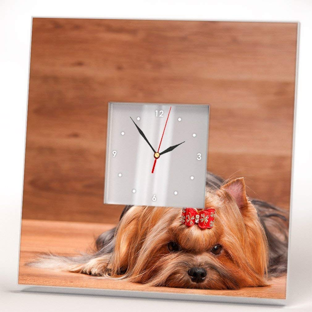 Yorkshire Dog Terrier Yorkie Wall Clock Framed Mirror Decor Printed Pet Lovers Art Home Design Gift