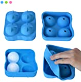 2 inch Bar Drink Whiskey Sphere Large Round Golf Ball Shape Ice Cube Maker Tray Mold, Blue