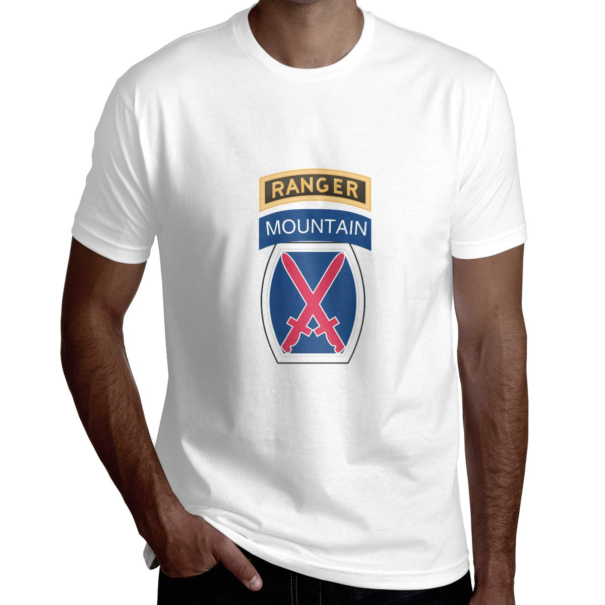 10th Mountain Division with Ranger Mens Fashion Short Sleeve Shirt