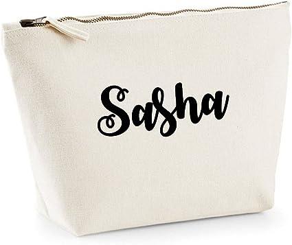 Sasha nombre personalizado lona de algodón bolsa de accesorios de ...