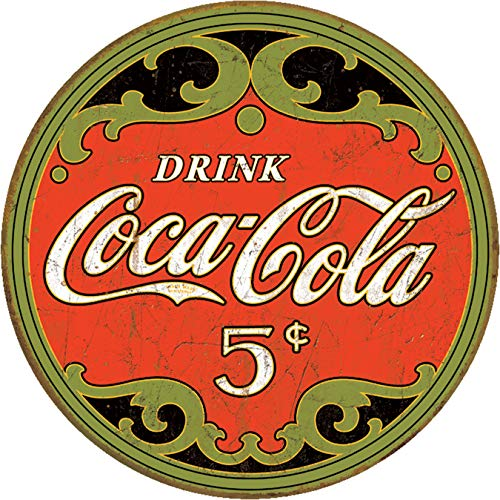 Desperate Enterprises Drink Coca-Cola - 5 Cents Round Tin Sign, 11.75