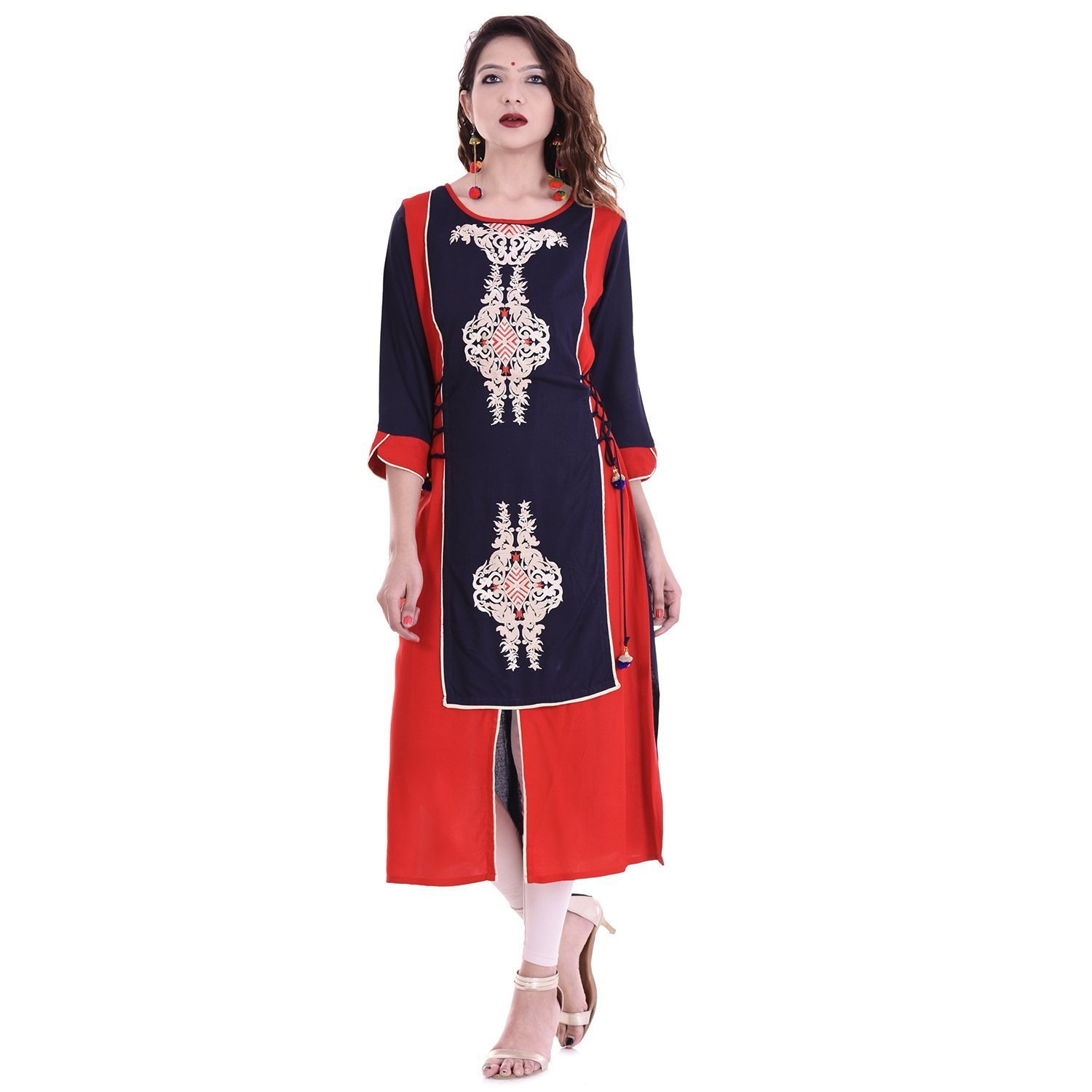 Chichi Indian Women Kurta Kurti 3/4 Sleeve X-Large Size Embroidered Straight Red-Royal Blue Top by CHI
