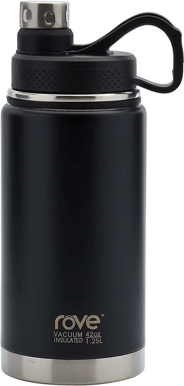 Rove Stainless Steel Unlimited Water Bottle Collection- Double Wall Vacuum Insulated Leak Proof, 42 Ounce Unlimited Water Bottle (Matte Black)