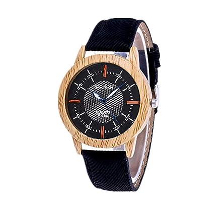 squarex Reloj Minimalista de Madera de bambú con diseño de Vaquero, Color E