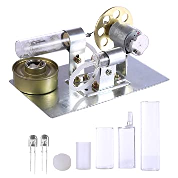 Foxom Motor Stirling Engine Kit, Stirling Engine Motor Generador de Electricidad LED, Ciencias Modelo Educativo de Física Juguetes para Niños 8 Años+: ...