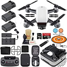 DJI Spark Drone Quadcopter Fly More Combo (Alpine White) with Portable Charging Station, 3 Batteries, Remote Controller, Charger, Charging Hub, Shoulder Bag, Bundle Kit with MUST HAVE Accessories