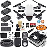 DJI Spark Drone Quadcopter Fly More Combo Alpine White with Portable Charging Station 3 Batteries Remote Controller Charger Charging Hub Shoulder Bag Bundle Kit with MUST HAVE Accessories
