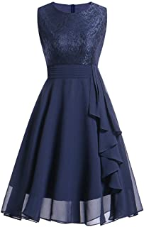 Women's Evening Prom Dress,CSSD Ladies' Sleeveless Vintage Lace Slim Casual Cocktail Evening Party Prom Swing Dress (S, Blue)
