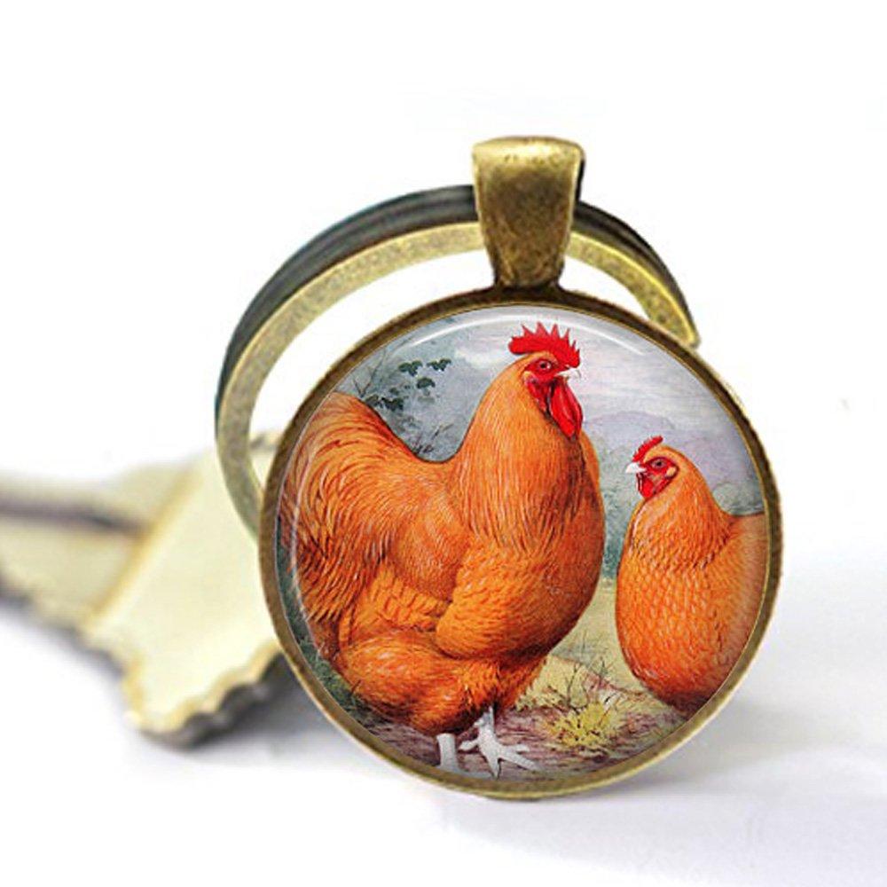 Llavero de Pollo ~ Buff Orpington Gallo y gallina - Vintage ...