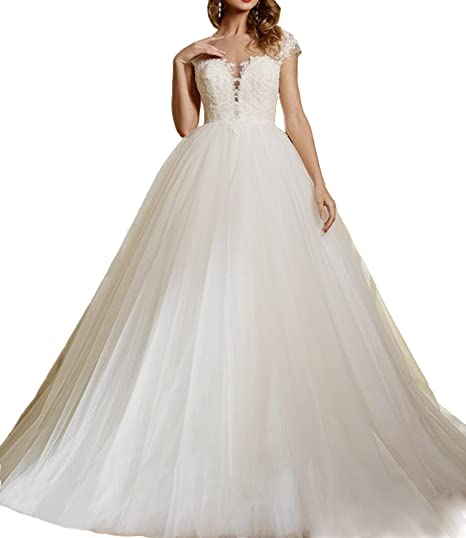 Alanre Appliques Lace Tulle Transparent Wedding Dress for