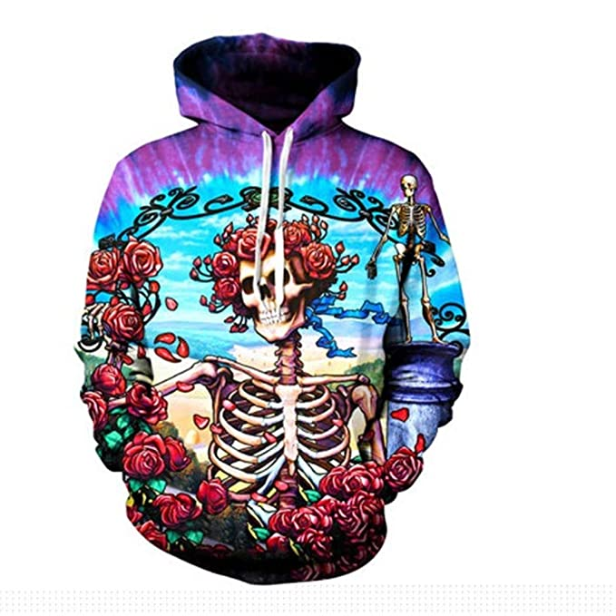 Autumn 3D Printed Funny Skull Mens Hoodies Sweatshirt Pullover Thick Casual Tops